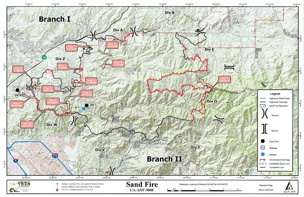 Retardant Survey Map: Sand Fire
