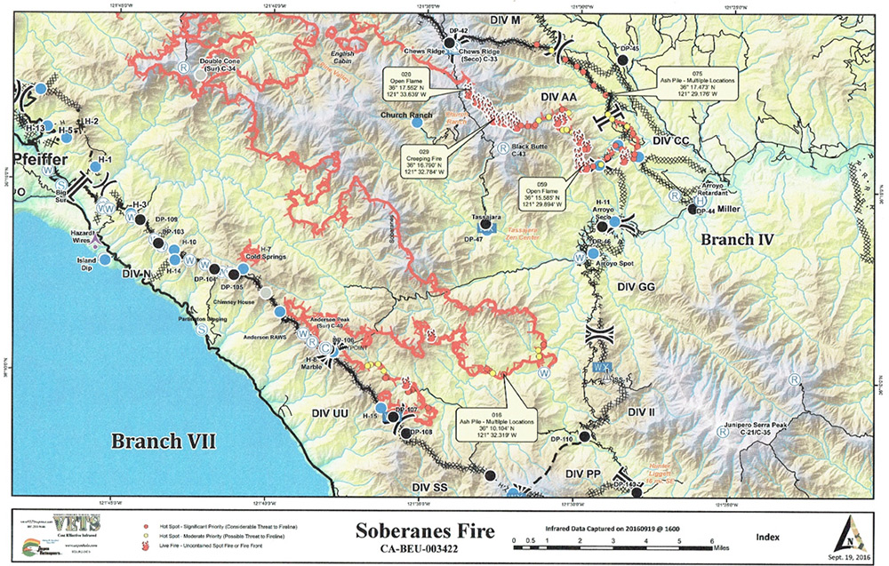 Infrared Operational Map Soberanes Fire Vets Response